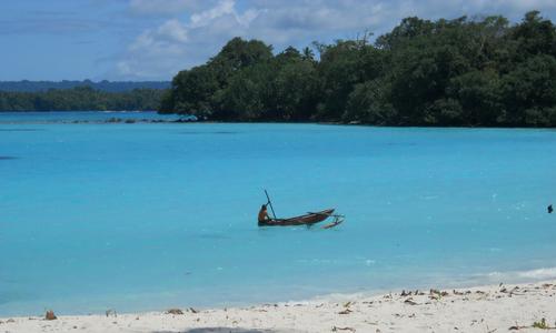 Ausleger-Fischboot vor der Insel Espititu Santo, Vanuatu (Champaign Beach): Diese Insel ist für ihre guten Kavasorten bekannt.